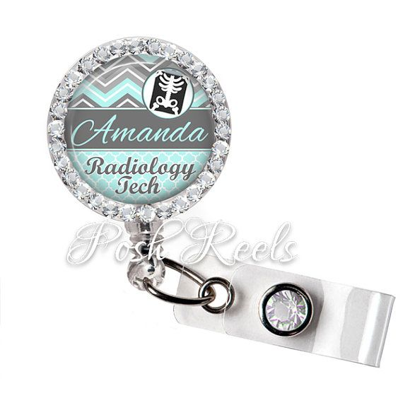 Retractable ID Badge Reel  Personalized Radiology by PoshReels