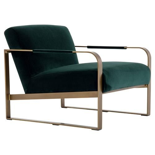 Halle Modern Classic Dark Green Upholstered Antique Brass