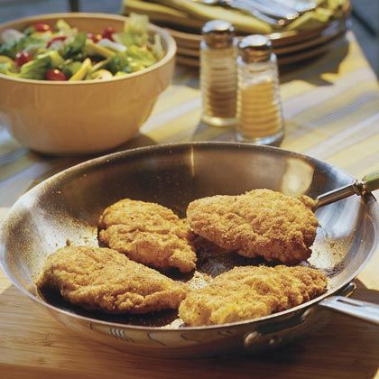 Crunchy Pan-Fried Chicken- Moist and delicious! I love that it uses corn muffin mix, it really adds that extra crunch. One suggestion I have is to brown the outside in a pan and then put them in the oven at 375 for 20 minutes so the outside doesn't burn and the inside is moist.