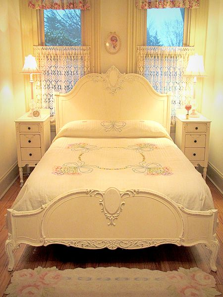 antique white french bed full or queen size - Vintage Bed Frame