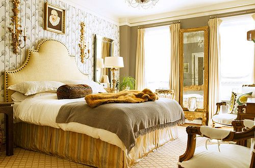 shades of grey + gold... super cozy and glam!