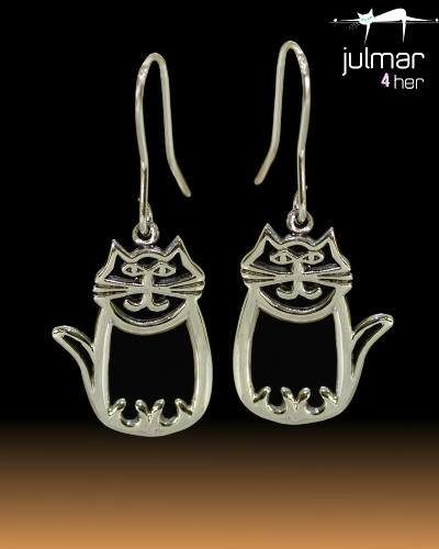 Whimsical Cat Sterling Silver Dangle Earrings - Julmar 4 Her