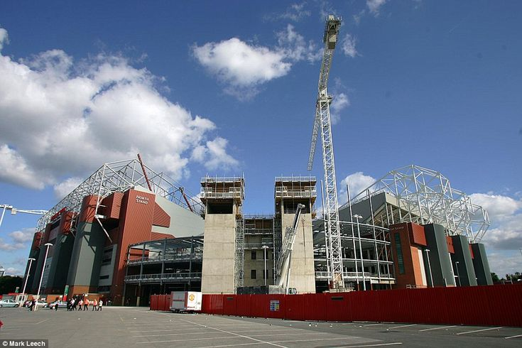 Work in progress to build more seats between the North and West (Stretford) stands at Old Trafford prior to a clash with Aston Villa in August 2005