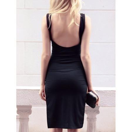 Open Back High Slit Sheath Dress