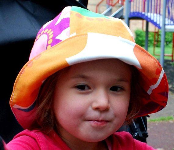 5061069ab Colorful girls summer hat, flower bonnet, reversible toddler ...