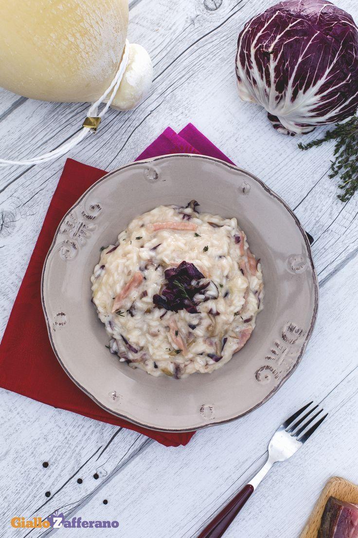 Il #risotto speck, #radicchio e #caciocavallo è un piatto rustico dal sapore deciso ed equilibrato che vale assolutamente la pena provare nelle fredde giornate invernali! #ricetta #GialloZafferano #italianfood #italianrecipe #italianrisotto