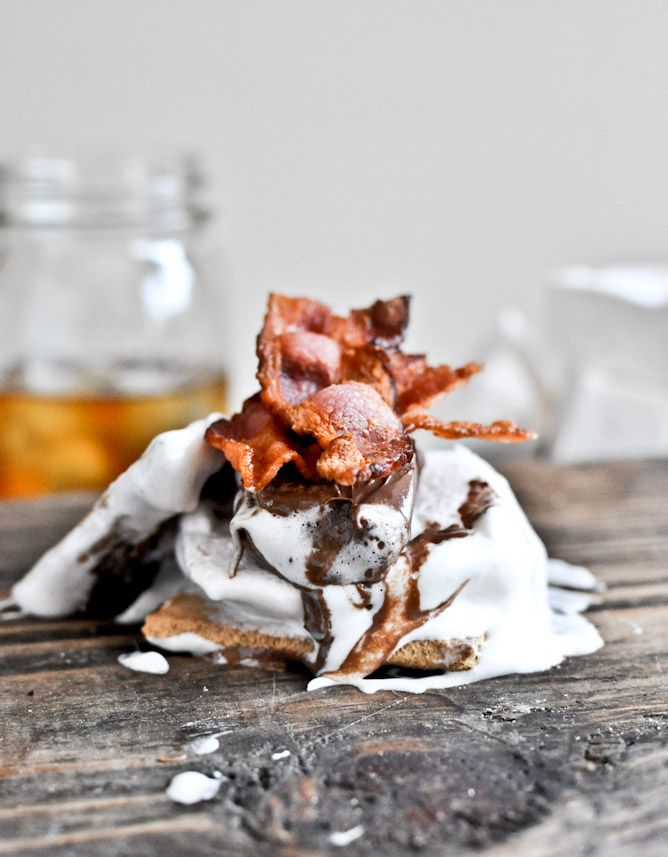 How did i never think of putting bacon on my s'mores!! Bourbon