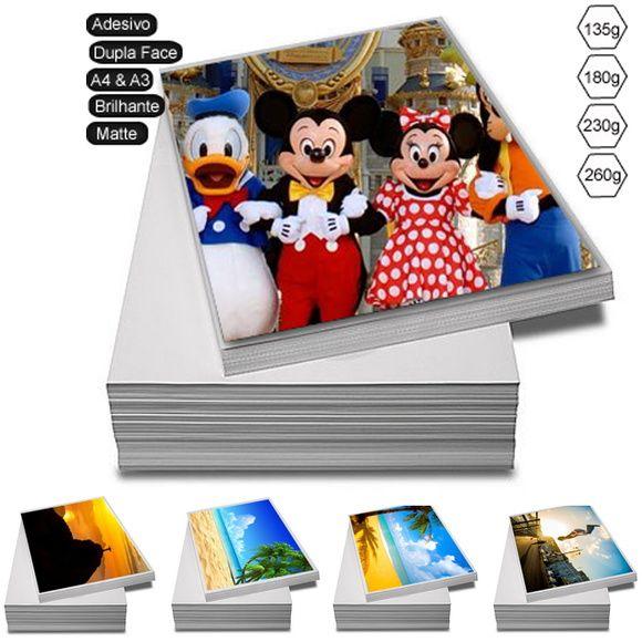 100 Folhas de Papel Adesivo Fotográfico Glossy Brilhante. Com gramatura de 180g/m² tamanho A4 210x297mm (21x29.7cm). Papel de altíssima qualidade de impressão com alta resolução. Impressão à prova d?água. Secagem instantânea. Pode ser utilizado em qualquer Jato de Tinta Epson, Lexmark, HP ou Canon.