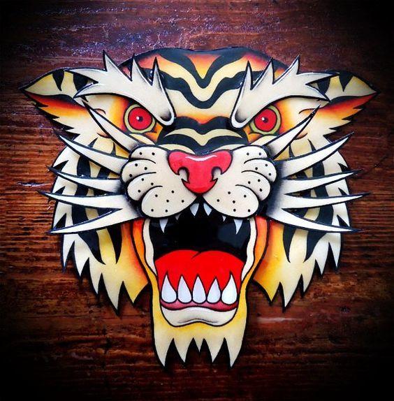 Wonderful old school roaring tiger head tattoo design - Tattooimages ...