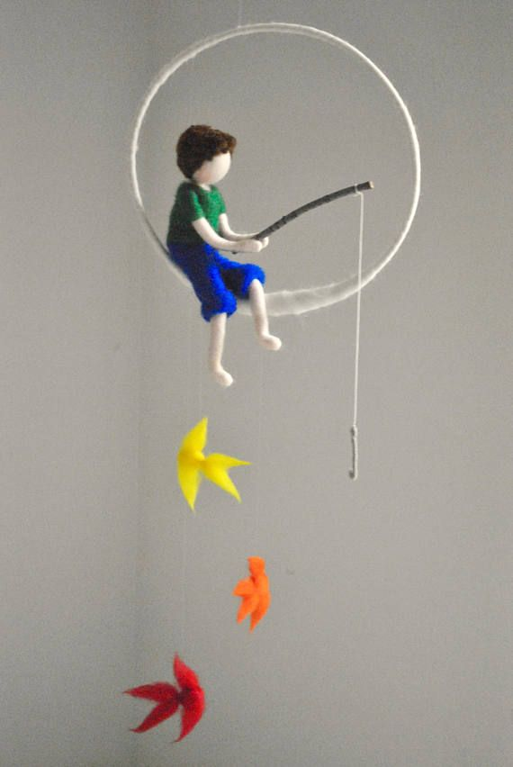 The fishing boy Waldorf inspired needle felted doll mobile: