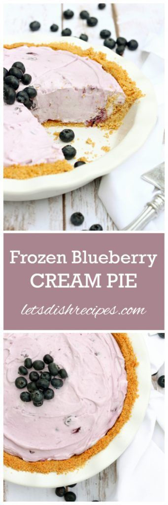 Frozen Blueberry Cream Pie Recipe | This cool and creamy pie is a perfect summer dessert.