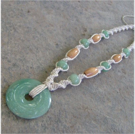 Hemp Necklace w/ Green Aventurine Stone Pendant
