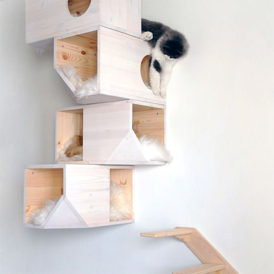 See how a cat tower evolves from a basic DIY project to a designer piece.