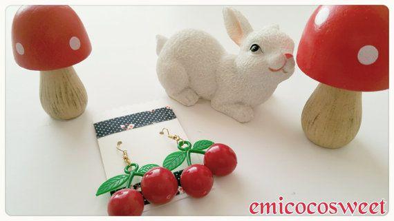 Handmade JewelryCherry EarringPinup girl by emicocosweet on Etsy