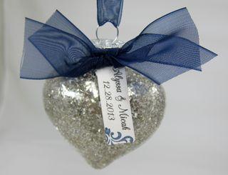Heart Ornament - Wedding Favor Silver Glass Stampin' Glitter (Item #120995)