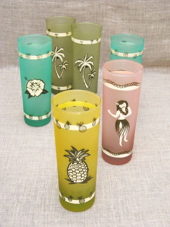 Glasses / Vintage Barware / Vintage Set of 6 Frosted Decorated Highball / Glassware / Cocktail Glass / Lemonade Glass - Vintage Penthouse