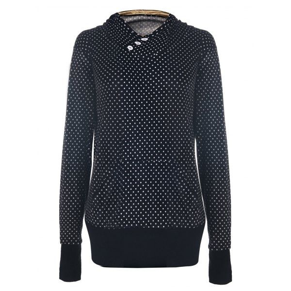 22.02$  Buy now - http://dif06.justgood.pw/go.php?t=151225504 - Chic Hooded Long Sleeve Pocket Design Polka Dot Women's Hoodie 22.02$