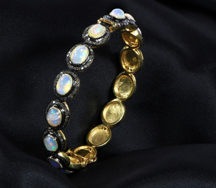 Bangle in 14kt Gold & .925Sterling Silver with Opal and Pave Diamonds