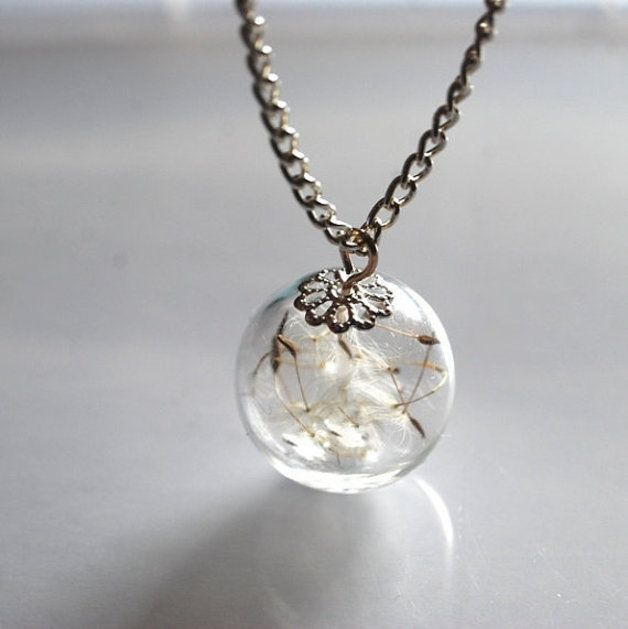 Statement Necklaces – Dandelion Necklace Resin Ball Real Seeds Eco – a unique product by NaturalPrettyThings on DaWanda
