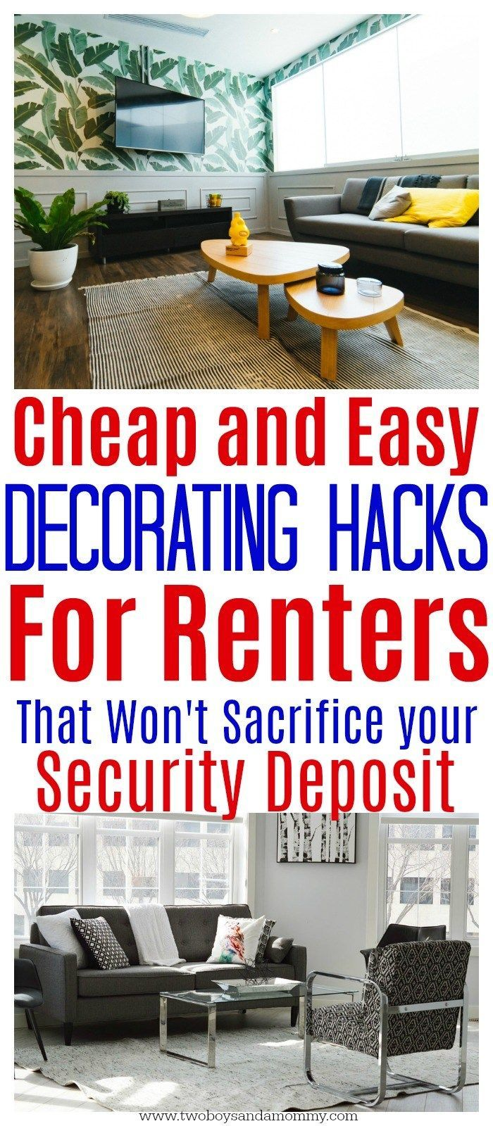 Cheap and Easy Decorating Ideas for Renters | #homedecor #rental #rentalproperty #decorating #hacks #easy #cheap | Apartment decoration ideas