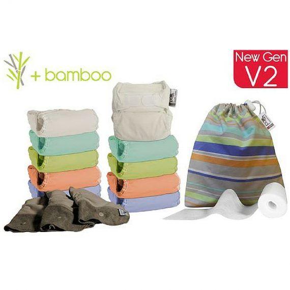 Close - Pack Completo 10 Fraldas Reutilizáveis de bambu- Rebento.pt