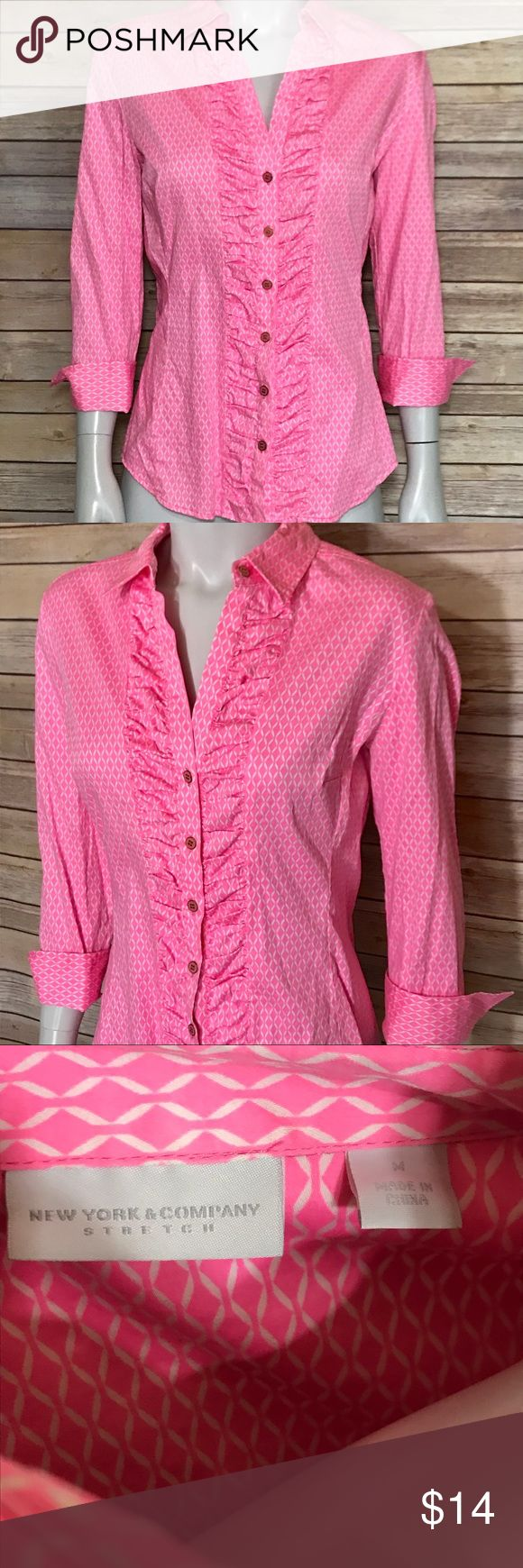 {new york & company} pink & white button down top Pink dress shirt with white pattern. Ruching near the buttons. Stylish professional shirt! New York & Company Tops Button Down Shirts
