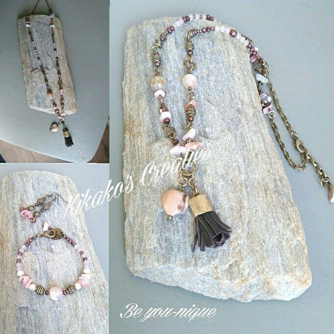 Bronzen setje: armband,  ketting en oorbellen gemaakt met o.a. rozekwarts…