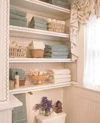 storage in a small bathroom – shelves behind the toilet   – Bathrooms – #bathroo…   – most beautiful shelves