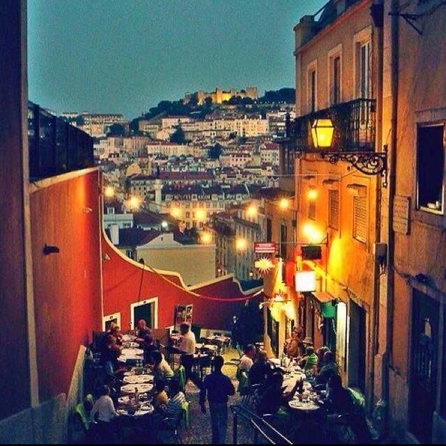 Dining out during warm summer nights, overlooking Castelo Sao Jorge - Portugal