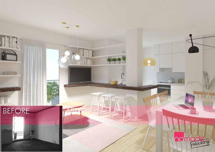 Un appartamento di recente acquisto, completamente arredato grazie al nostro Relooking #nomaderelooking #nomadearchitettura#relooking#ristrutturare #interiors#interiordesign #italiandesign #kitchen #livingroom