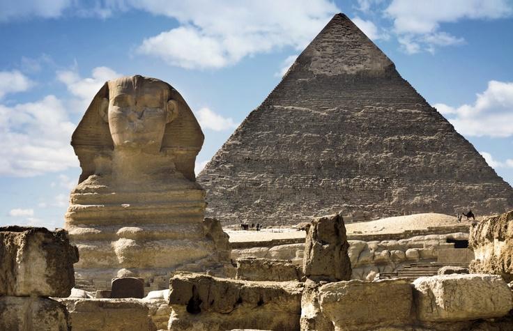 Sphinx & Pyramids at Giza Cairo, Egypt.
