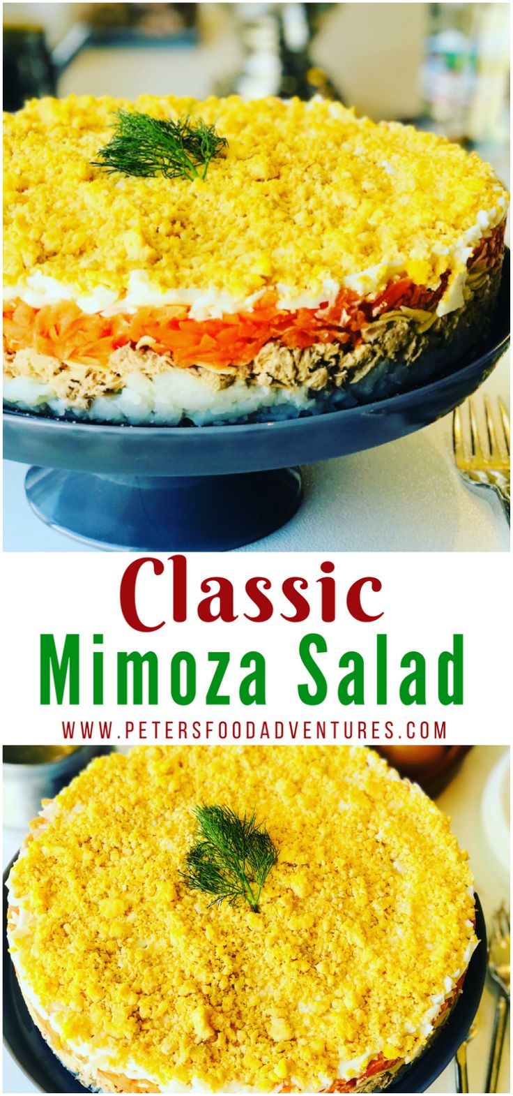 You have to try this Mimoza Salad (Салат Мимоза)! A delicious Russian layered salad popular during celebrations and holidays. A hearty salad with Tuna, Potatoes, Carrots, Eggs and of course, lots of Mayo. Who needs regular potato salad when you can have Mimoza!