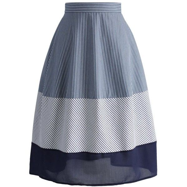 Chicwish Stripe In Blue Cotton Midi Skirt (75 BAM) ❤ liked on Polyvore featuring skirts, blue, dressy skirts, button skirt, stripe skirt, mid calf skirts and fancy skirts