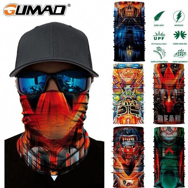 Blue Flame FACE MASK Sun Shield Neck Gaiter Headband Bandana Du Rag Do Skull Cap