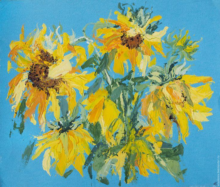 Купить Картина цветы «Подсолнухи» - подсолнух, лето, летний букет, картина мастихином, импрессионизм