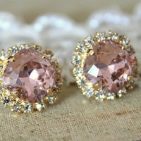 crystal vintage pink earrings