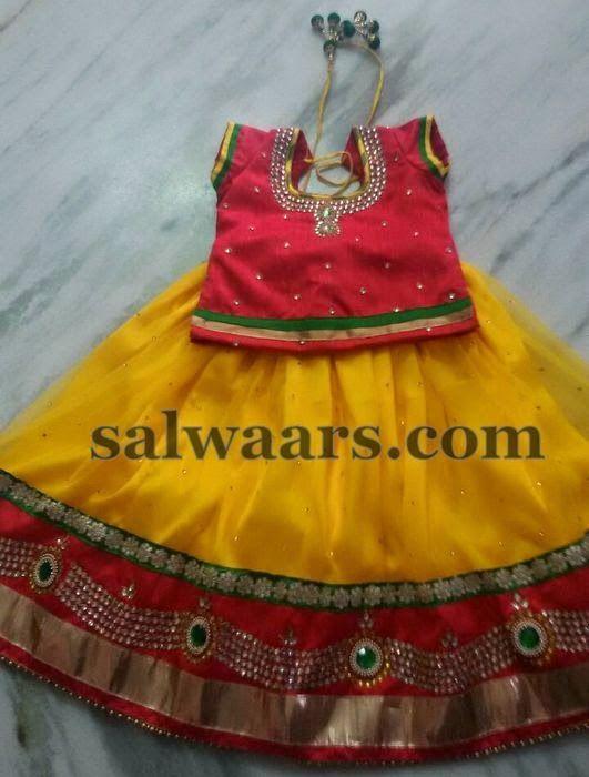 Glittering Kundan Work Lehenga - Indian Dresses