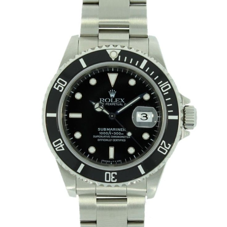 Mens Pre Owned Rolex Submariner Date Watch Steel 16610 RW0170 #Watches #Watchesofpintrest #Luxarywatches #Rolex #Rolexwatch #RolexSubmariner