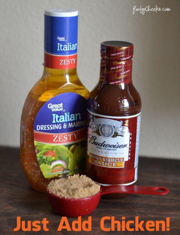 4 Ingredient Crock Pot BBQ Chicken - BBQ sauce, Italian dressing, brown sugar and chicken!