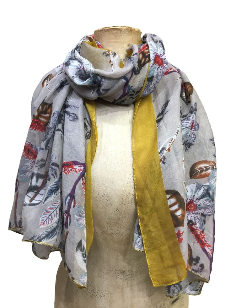 Floral scarf with mustard border edge by Hem&Edge #mustard #grey 50% cotton 50% viscose 80x180cm #glamorousgreys #scarf #accessories #onebutton #hemandedge Click to see more products from the One Button shop.