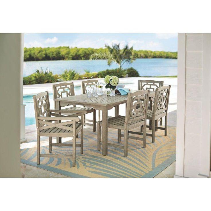 Martha Stewart Living Blue Hill 7-Piece All-Weather Eucalyptus Wood Patio Dining Set-9433500270 - The Home Depot