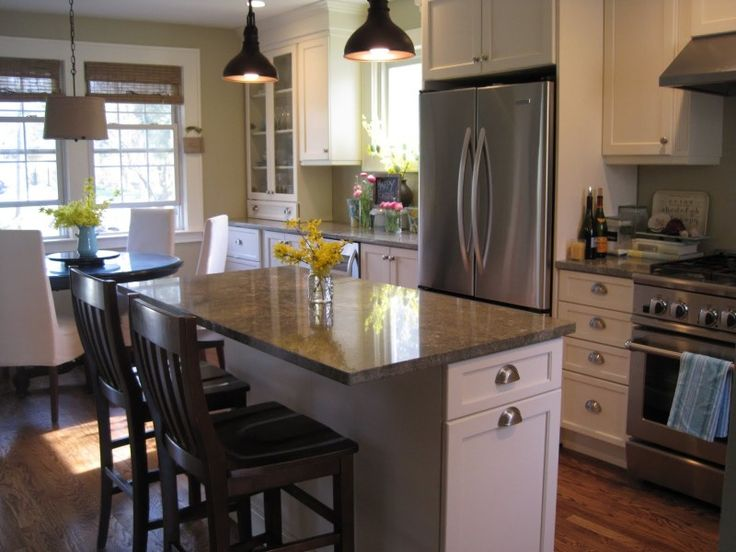Kitchen, Small Kitchen Island Designs For Formal Kitchen Interior With Modern Refrigerator And Black Chairs: How to Decorate Large Kitchen Island Designs