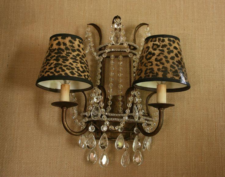 Crystal sconce with leopard shades via Vignette Design.