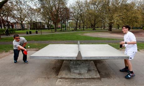 An outdoor table-tennis table in London Fields, Hackney. Photograph: Graeme Robertson