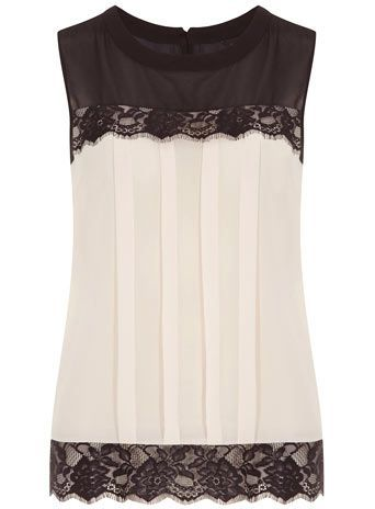 Blacl lace  Cream chiffon , Top