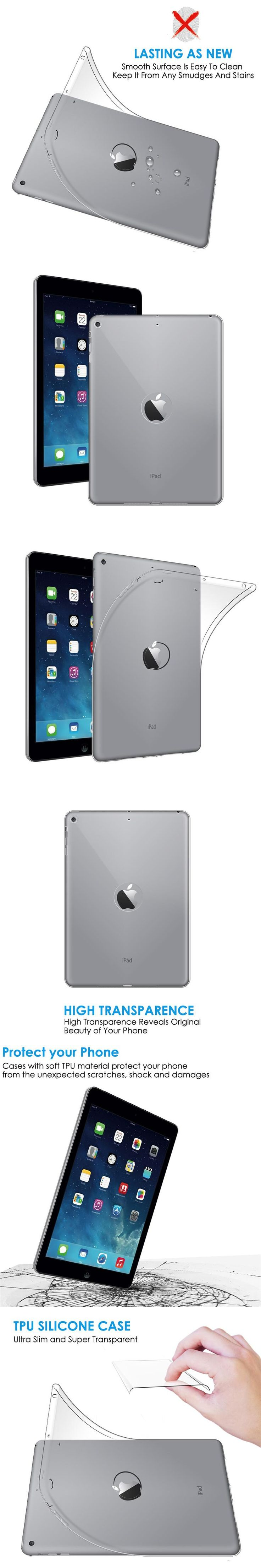 Qosea For Apple i Pad Air Case Ultra-thin Anti-Knock Silicone Soft TPU luxury For i Pad 5/Air Transparent Protective Cover Coque