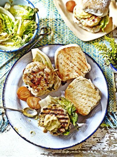 Nathan Outlaw's seafood burger COD, CRAB & KING PRAWNS WITH WASABI MAYO
