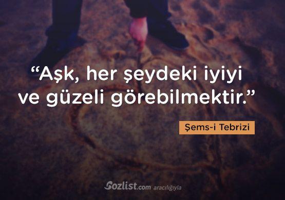 """""""Aşk, her şeydeki iyiyi ve güzeli görebilmektir."""" #şemsi #tebrizi #şems #sözleri #yazar #şair #kitap #şiir #özlü #anlamlı #sözler"""