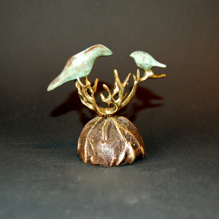 "Yenny Cocq Sculpture. ""Leaving the nest"". Miniature Bronze Sculpture 4""…"