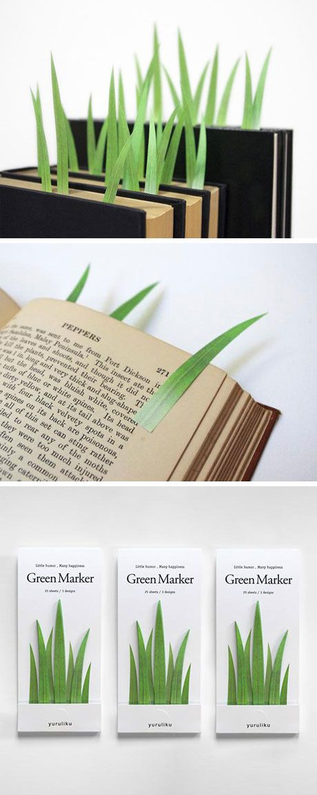 Green Marker is a set of grass-shaped page markers for the environment-loving…
